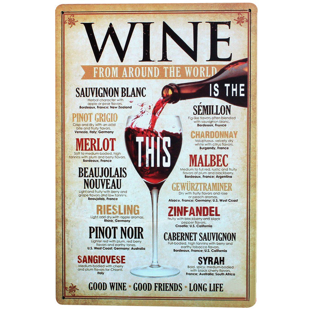 Wine From Around The World Sign