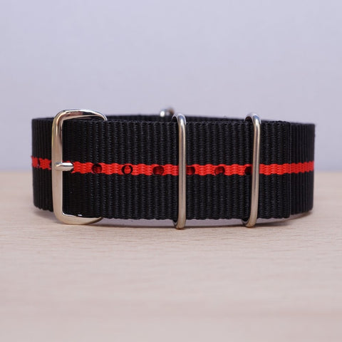 Black Red Stripe N.A.T.O Watch Strap