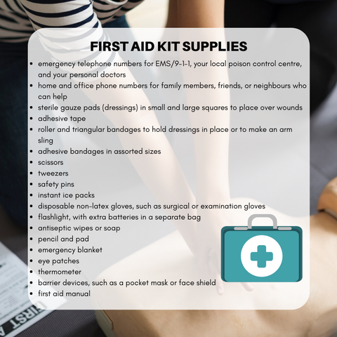 recommended first aid kit supplies
