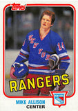 1981-82 Topps #E94 Mike Allison NM-MT Hockey NHL RC Rookie NY Rangers