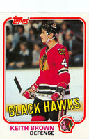 1981-82 Topps #W67 Keith Brown NM-MT Hockey NHL Blackhawks