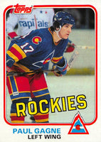 1981-82 Topps #W80 Paul Gagne NM-MT Hockey NHL RC Rookie Rockies