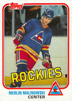 1981-82 Topps #W81 Merlin Malinowski NM-MT Hockey NHL RC Rookie Rockies