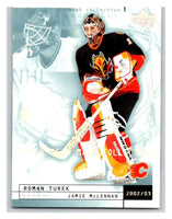 (HCW) 2002-03 UD Mask Collection #13 Roman Turek/Jamie McLennan Flames