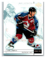 (HCW) 2002-03 UD Mask Collection #23 Joe Sakic/Patrick Roy Avalanche