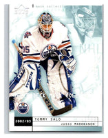 (HCW) 2002-03 UD Mask Collection #34 Tommy Salo/Jussi Markkanen Oilers