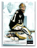 (HCW) 2002-03 UD Mask Collection #71 Sebastien Caron/Johan Hedberg Penguins
