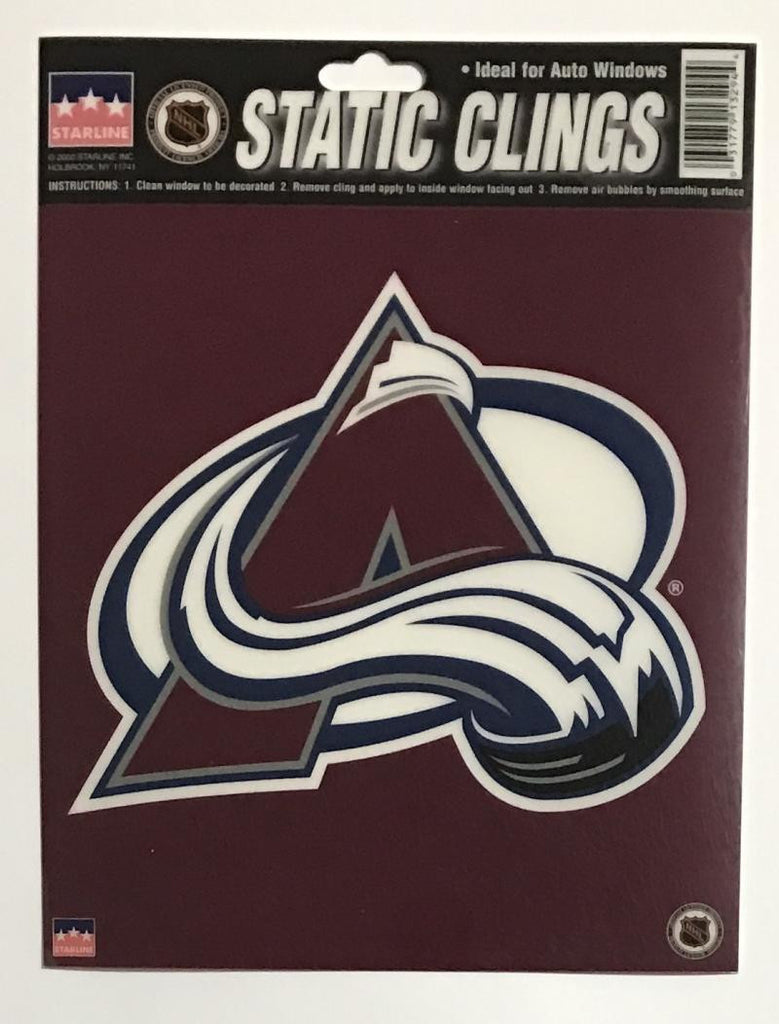 "Colorado Avalanche 6""x6"" NHL Static Clings for inside of car windows or glass"