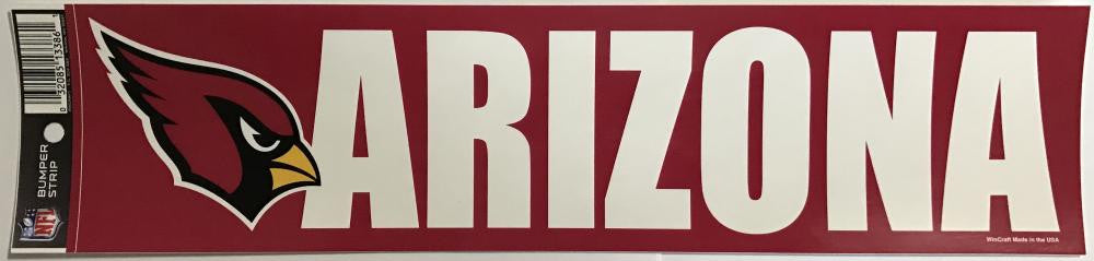 "(HCW) Arizona Cardinals 3"" x 12"" Bumper Strip NFL Football Sticker Decal"