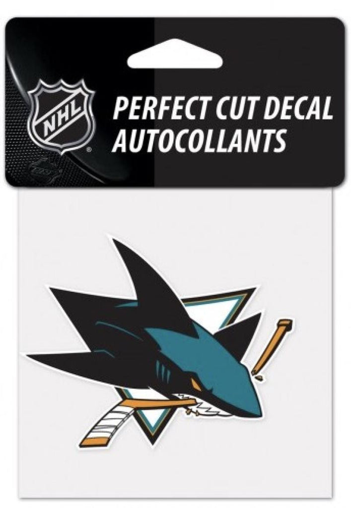 "(HCW) San Jose Sharks Perfect Cut Color 4""x4"" NHL Licensed Decal Sticker"
