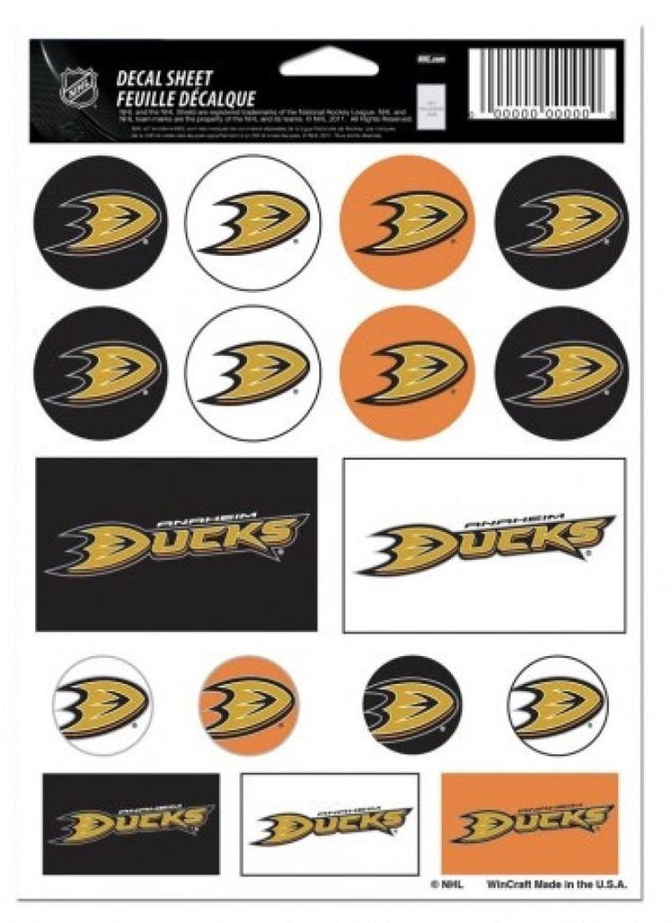 "(HCW) Anaheim Ducks Vinyl Sticker Sheet 5""x7"" Decals NHL Licensed Authentic"