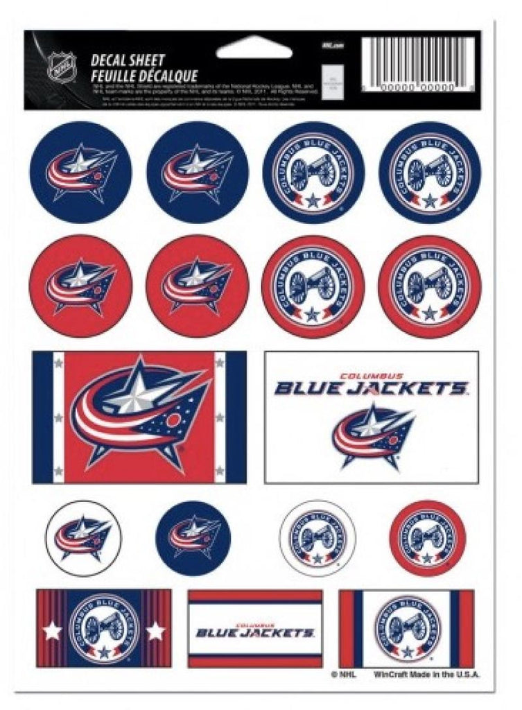 "(HCW) Columbus Blue Jackets Vinyl Sticker Sheet 5""x7"" Decals NHL Licensed Authentic"