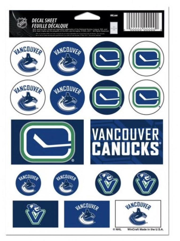 "(HCW) Vancouver Canucks Vinyl Sticker Sheet 5""x7"" Decals NHL Licensed Authentic"