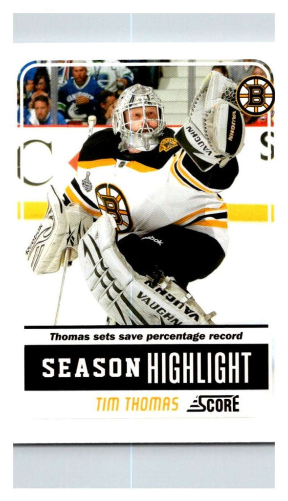 (HCW) 2011-12 Score Glossy #30 Tim Thomas Bruins NHL Mint