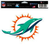 "(HCW) Miami Dolphins Multi-Use Coloured Decal Sticker 5""x6"" NFL Football"