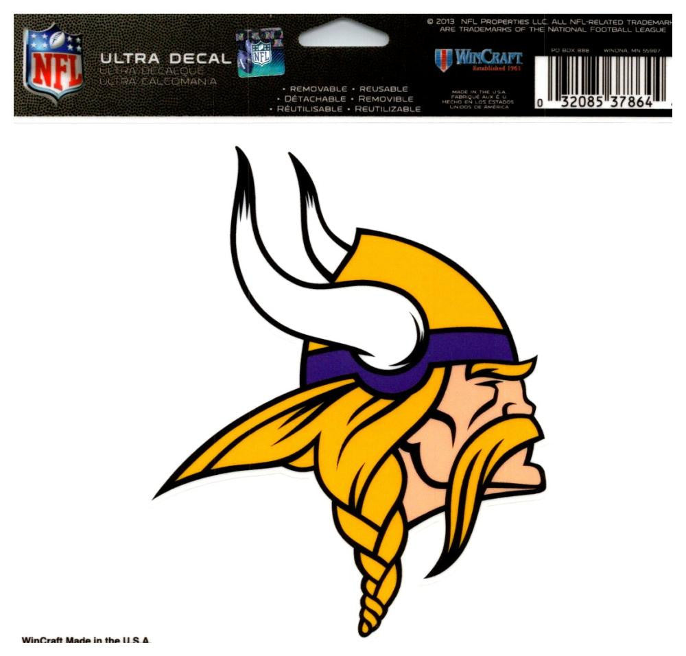 "(HCW) Minnesota Vikings Multi-Use Coloured Decal Sticker 5""x6"" NFL Football"