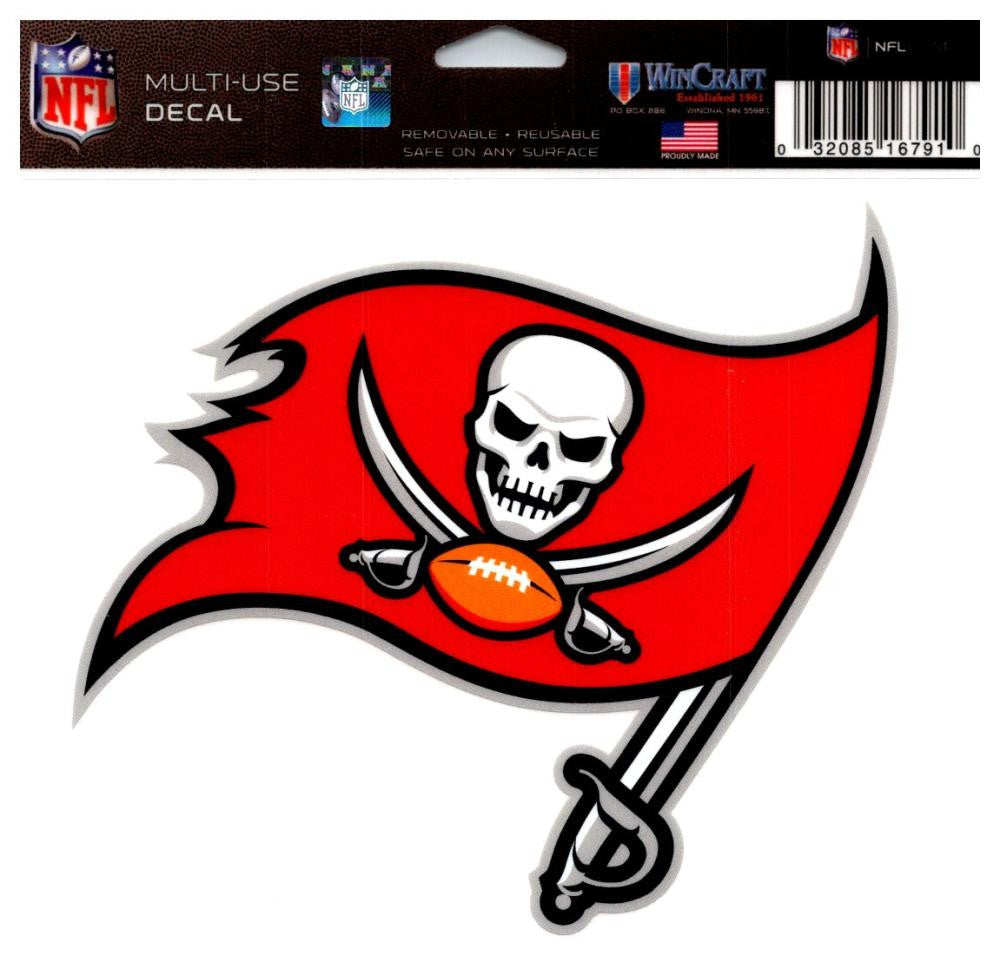 "(HCW) Tampa Bay Buccaneers Multi-Use Coloured Decal Sticker 5""x6"" NFL Football"