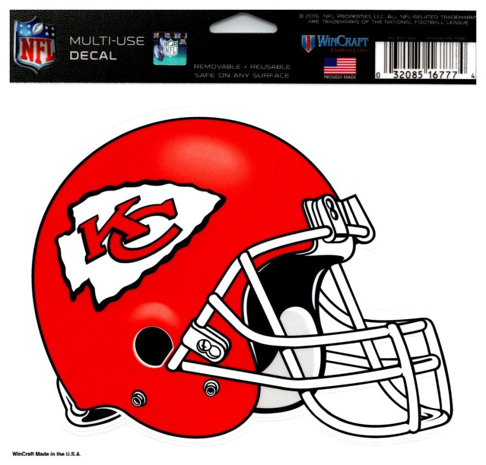 "(HCW) Kansas City Chiefs Multi-Use Helmet Coloured Decal Sticker 5""x6"" NFL"