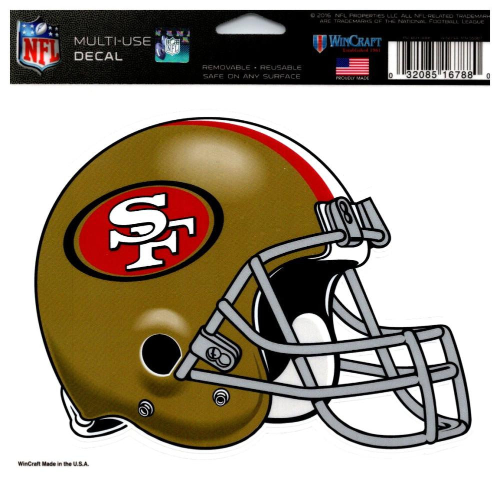 "(HCW) San Francisco 49ers Multi-Use Helmet Coloured Decal Sticker 5""x6"" NFL"