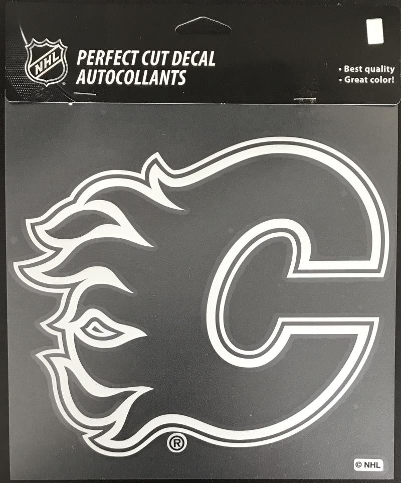 (HCW) Calgary Flames Perfect Cut White 8x8 Large Licensed Decal Sticker