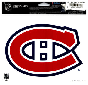 "(HCW) Montreal Canadiens Multi-Use Coloured Decal Sticker 5""x6"" NHL Licensed"