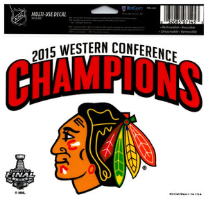 "(HCW) Chicago Blackhawks Champs Multi-Use Coloured Decal Sticker 5""x6"" NHL Licensed"