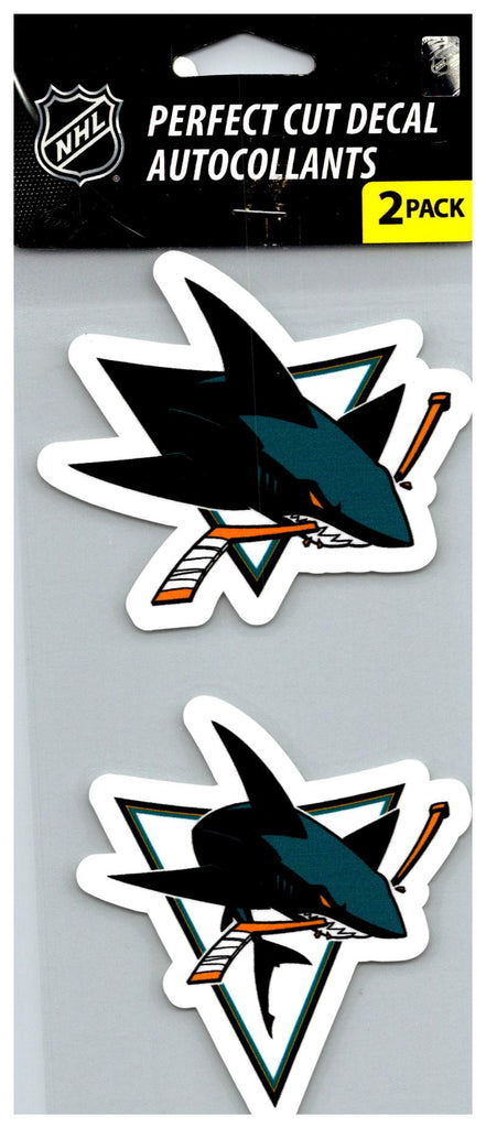 "(HCW) San Jose Sharks Perfect Cut 4""x4"" Decal Sticker Pack of 2"