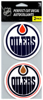 (HCW) Edmonton Oilers Perfect Cut Decal/Sticker Set of 2 NHL 4x4