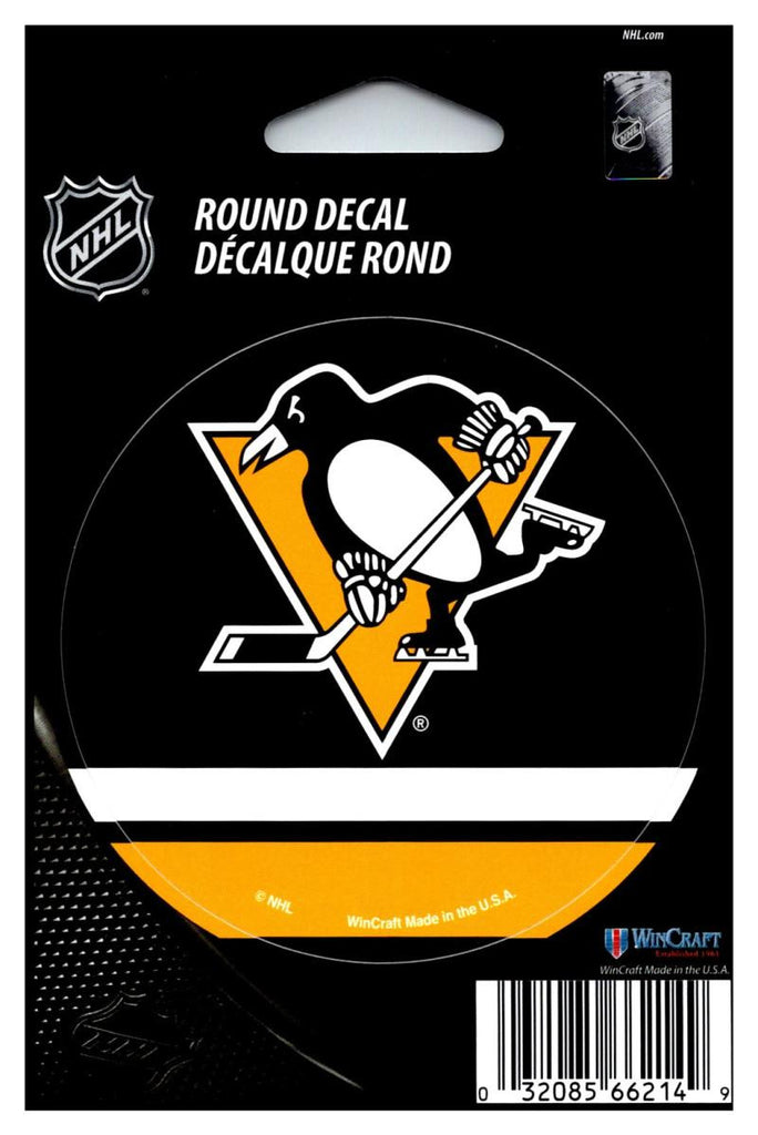 "(HCW) Pittsburgh Penguins 3"" Round Vinyl Decal Sticker NHL Licensed In/Outdoor"
