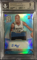 2014-15 Panini Spectra Blue ANDREW WIGGINS Auto Jersey 94/99 Rookie BGS 9