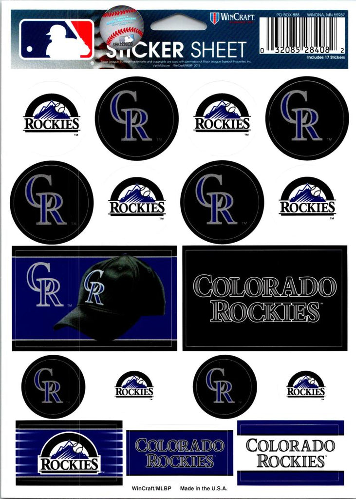 "(HCW) Colorado Rockies Vinyl Sticker Sheet 5""x7"" Decals MLB Licensed Authentic"