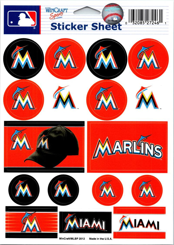 "(HCW) Miami Marlins Vinyl Sticker Sheet 5""x7"" Decals MLB Licensed Authentic"