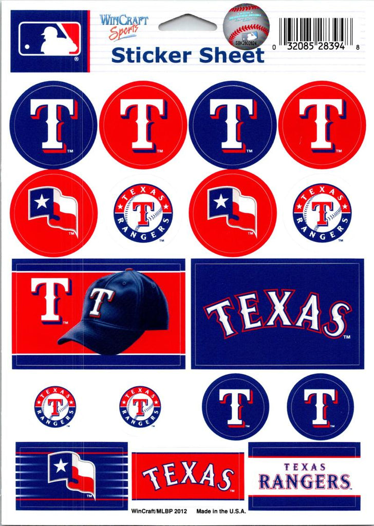 "(HCW) Texas Rangers Vinyl Sticker Sheet 5""x7"" Decals MLB Licensed Authentic"