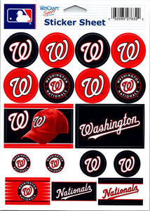 "(HCW) Washington Nationals Vinyl Sticker Sheet 5""x7"" Decals MLB Licensed Authentic"