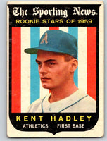 1959 Topps #127 Kent Hadley RC Rookie Athletics 3598