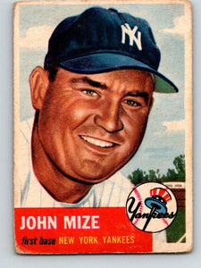 1953 Topps #77 Johnny Mize DP Vintage Baseball MLB Yankees 03774