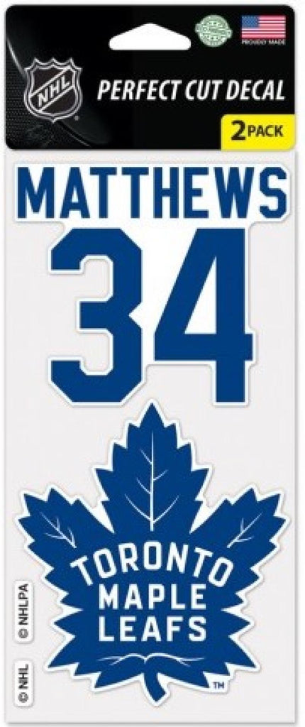 Toronto Maple Leafs Auston Matthews Perfect Cut Decal/Sticker Set of 2 NHL 4x4
