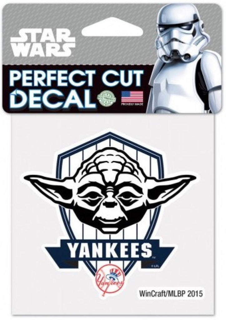 "New York Yankees YODA Perfect Cut MLB 4""x 4"" Star Wars Decal Sticker"