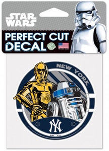 "New York Yankees CP30 Perfect Cut MLB 4""x 4"" Star Wars Decal Sticker"