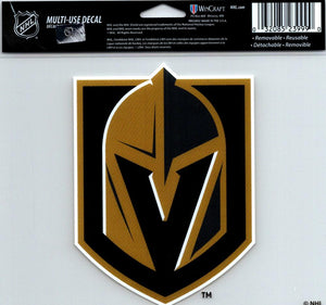 "Vegas Golden Knights Multi-Use Decal Sticker 5""x6"" Clear Back"