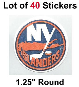 "New York Islanders Lot of 40 NHL Logo Stickers - 1.25"" Round x 40"