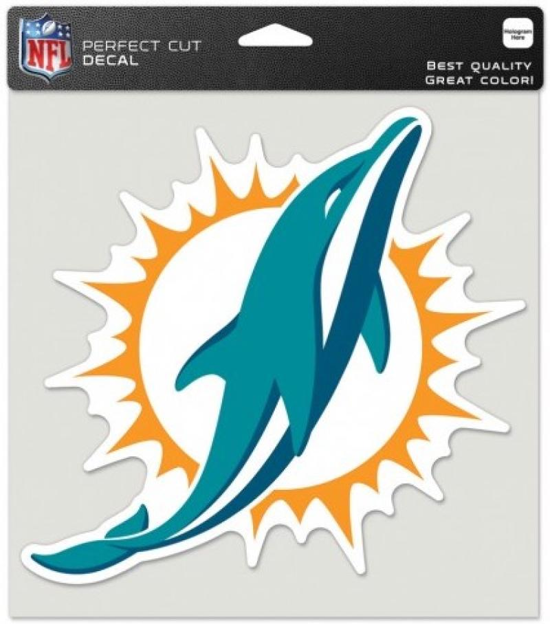 "Miami Dolphins Perfect Cut 8""x8"" Large Licensed NFL Decal Sticker"