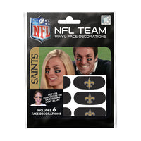 New Orleans Saints NFL Team Adhesive Face Decorations Pack of 6