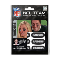 Oakland Raiders NFL Team Adhesive Face Decorations Pack of 6