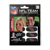 Arizona Cardinals NFL Team Adhesive Face Decorations Pack of 6