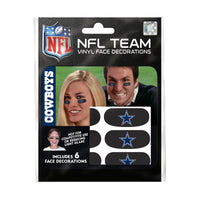 Dallas Cowboys NFL Team Adhesive Face Decorations Pack of 6
