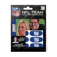 New York Giants NFL Team Adhesive Face Decorations Pack of 6