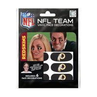 Washington Redskins NFL Team Adhesive Face Decorations Pack of 6
