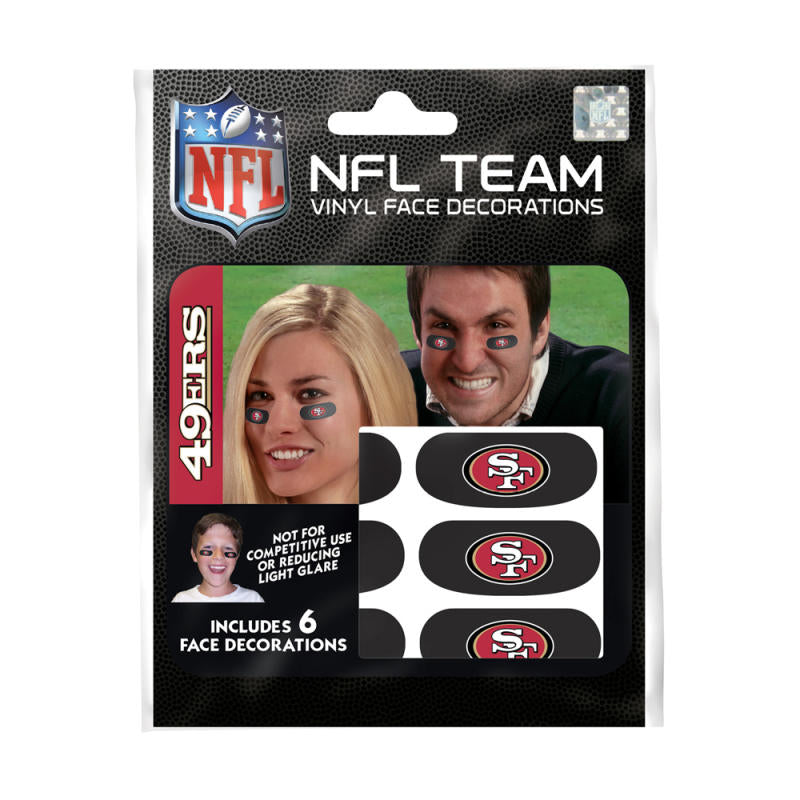 San Francisco 49ers NFL Team Adhesive Face Decorations Pack of 6