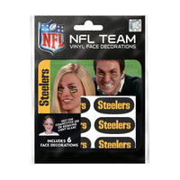 Pittsburgh Steelers NFL Team Adhesive Face Decorations Pack of 6